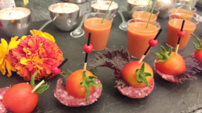 Trio de tomate du potager en mise en bouche